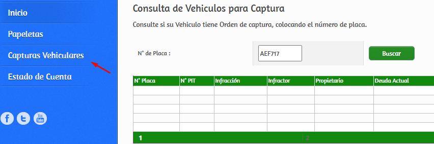 Consultar Papeletas con orden de captura Huancayo