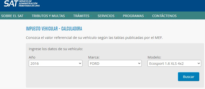 calcular impuesto vehicular